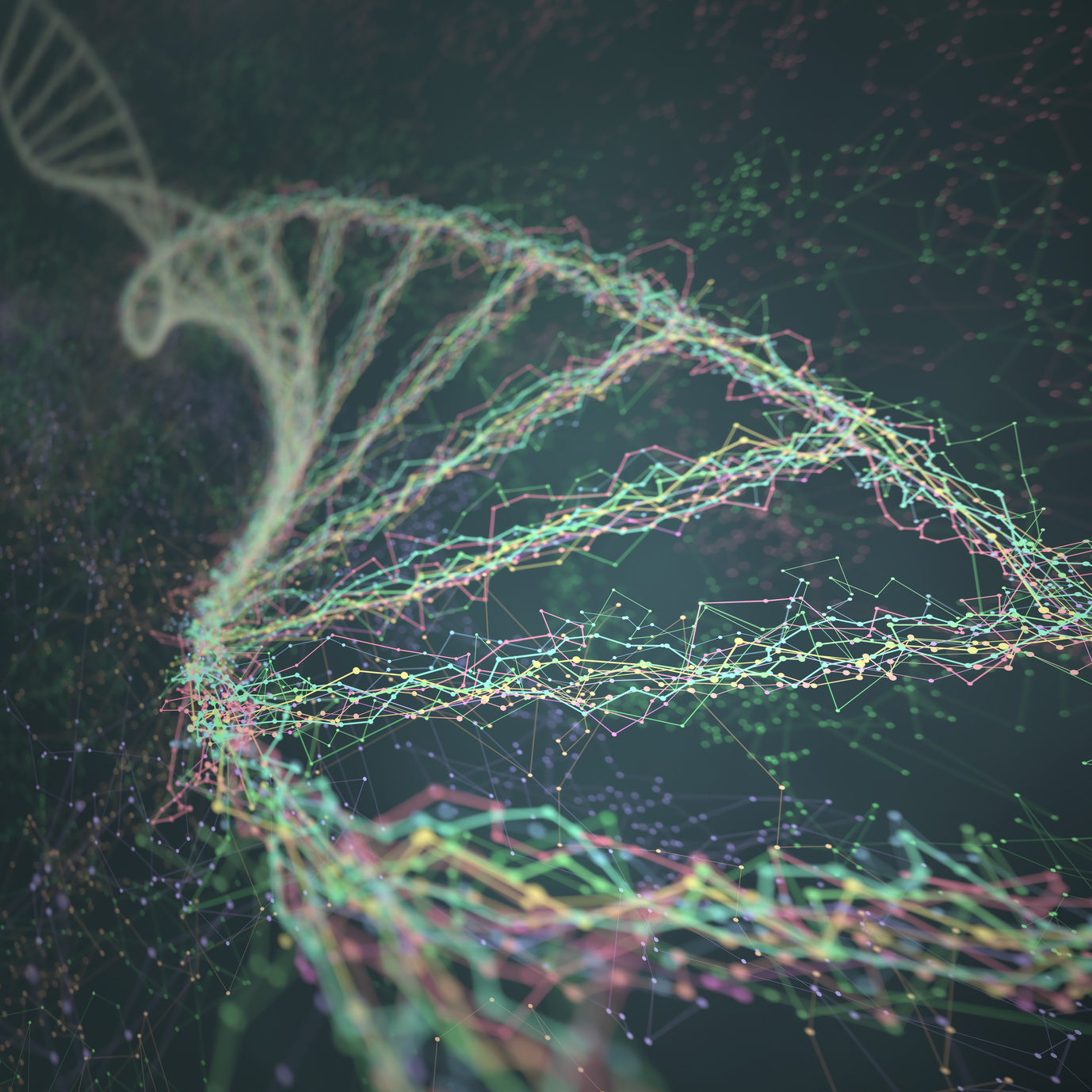 3D illustration. Dna helix connected by nodes and connections colored.